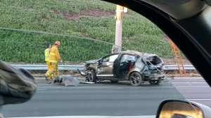 A KTLA viewer submitted this photo of an Oct. 30, 2015, crash on the 5 Freeway that left a driver dead on an overhead sign.