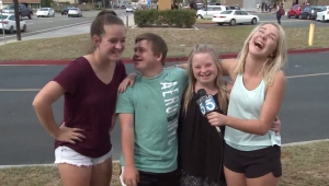 Ally Boots, Sean Boots, April Clark and Melissa Clark talk about their viral video on Oct. 12, 2015. (Credit: KTLA)
