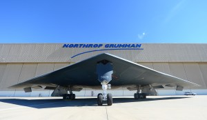 A B-2 Stealth Bomber is shown at the Palmdale Aircraft Integration Center of Excellence on July 17, 2014, when the U.S. Air Force and manufacturer of the B-2, Northrop Grumman, celebrated the 25th anniversary of the B-2 Stealth Bomber's first flight. (Credit: FREDERIC J. BROWN/AFP/Getty Images)