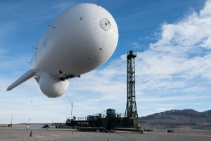 In this handout from the U.S. Air Force, a flight crew launches an U.S. Army Joint Land Attack Cruise Missile Defense Elevated Sensor System (JLENS) Feb. 3, 2014, at the Utah Test and Training Range, Utah. The same type of blimp broke loose from Aberdeen Proving Ground outside Baltimore on Oct. 28, 2015. (Credit: U.S. Air Force/Tiffany DeNault via Getty Images)
