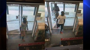 Police released photos of two persons of interest being sought in the possible kidnapping of a woman and an infant on Saturday, Oct. 16, 2015. (Credit: Inglewood Police Department)
