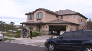 Agents raided this home in Santa Clarita in connection with a multi-million dollar sports gambling ring. (Credit: KTLA)