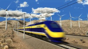 A drawing of the proposed bullet train. When completed, the trip from L.A. to San Francisco is estimated to take 2.5 hours. (Credit: California High-Speed Rail Authority/EPA)