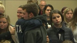 Students attended a press conference at Northern Arizona University on Friday, Oct. 9, 2015, after one person was killed and 3 injured in a shooting on the campus. (Credit: KTVK/CNN)