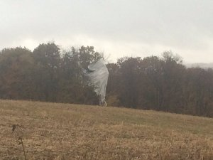 A military blimp that became untethered landed near Muncy, Pennsylvania, on Oct. 28, 2015. (Credit: Nikki Krize/WNEP)