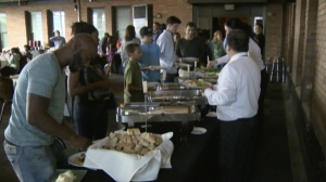 A meal was served to the homeless at a Sacramento hotel after a wedding was called off at the last minute. (Credit: KCRA)
