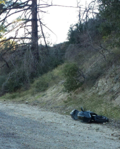Monica Lawson, who witnessed a deadly crash on Angeles Crest Highway on Oct. 30, 2015, provided this image of one of two downed motorcycles.