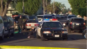An investigation was underway into a deputy-involved shooting that left a suspected DUI driver dead on Oct. 20, 2015. (Credit: KTLA)