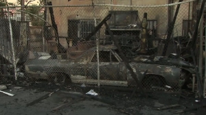 A 1968 El Camino that was burned in a Sun Valley fire on Oct. 25, 2015, is pictured. (Credit: KTLA)