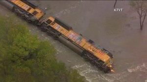 A train derailed near Corsicana, Texas, on Saturday, Oct. 24, 2015. (Credit: KTVT)