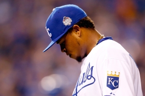 Edinson Volquez of the Kansas City Royals reacts in the fifth inning against the New York Mets during Game One of the 2015 World Series on October 27, 2015. (Credit: Jamie Squire/Getty Images)