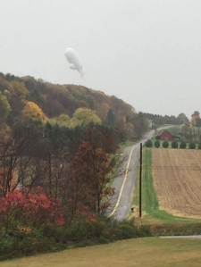 A viewer sent this photo of the blimp over Columbia County, Pennsylvania, in to WNEP.