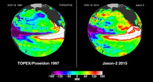 Satellite images comparing Nov. 18, 2015, and Nov. 19, 1997, show a large area of white, which indicates high sea levels, reflective of high sea temperatures. The image shows how this year's El Niño could be as powerful as the one in 1997, the strongest El Niño on record. (Credit: NASA Jet Propulsion Laboratory)