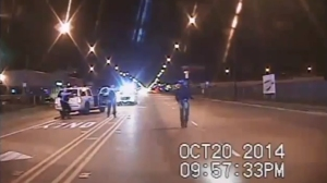 A moment before fatal police shooting of Laquan McDonald in October 2014 is shown in a still from video released by police on Nov. 24, 2015.