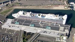 The Star Princess is seen in the Port of Los Angeles after arriving from Vancouver, Canada, on Thursday, Nov. 12, 2015. (Credit: KTLA)