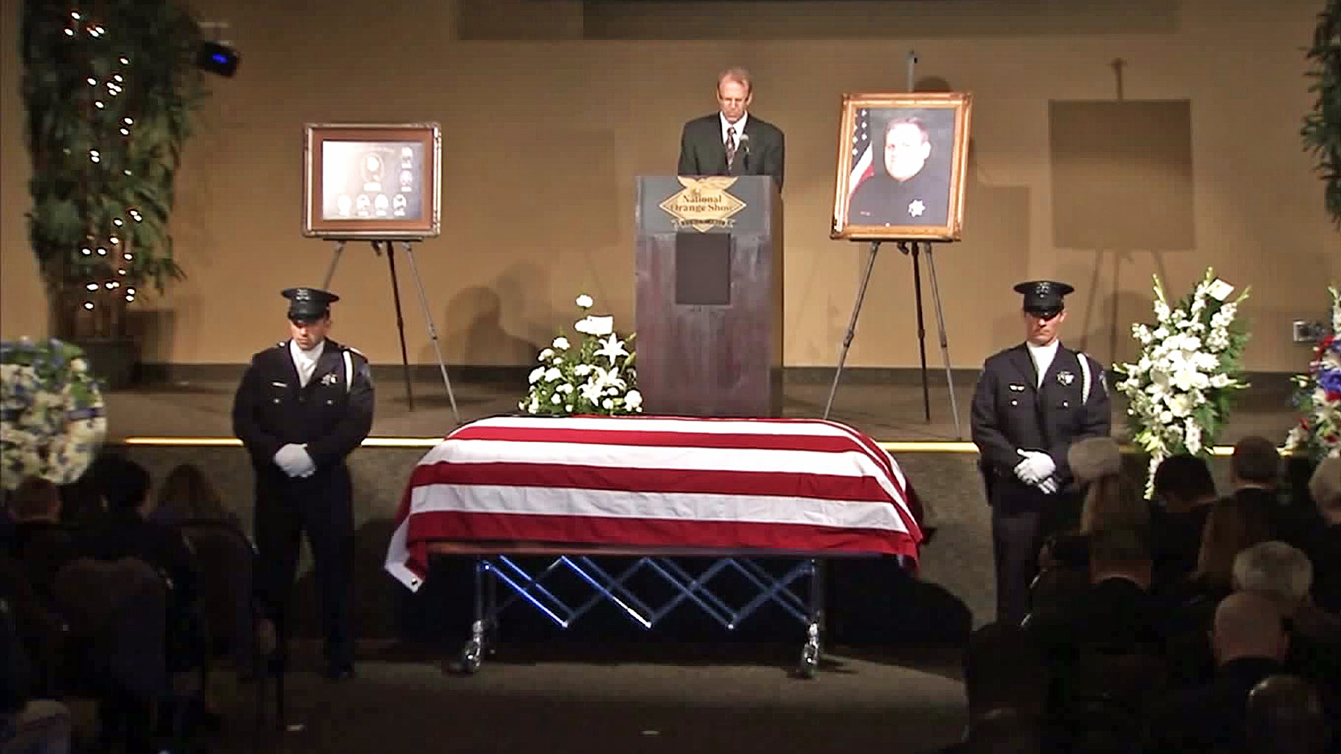 A funeral service was held for Officer Bryce Hanes on Nov. 12, 2015. (Credit: Pool)