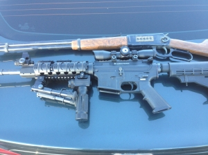 Weapons seized in the San Fernando Valley are shown in this image provided by the Los Angeles Police Department.