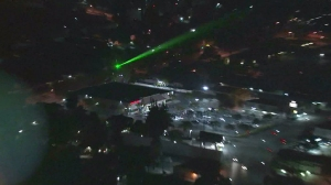 KTLA's Sky5 helicopter crew traced the source of a green laser to a home in Pomona on Nov. 12, 2015. (Credit: KTLA)