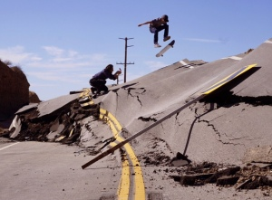 Skaters take to Vasquez Canyon Road, which closed due to a landslide on Nov. 19, 2015. (Credit: Gantry Hill)