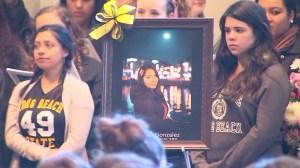 Fellow Cal State Long Beach students were among those who gathered for a vigil honoring Nohemi Gonzalez on Sunday, Nov. 15, 2015. (Credit: KTLA)