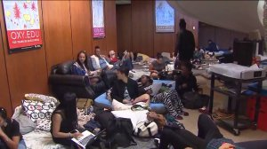 Students continued to stage a sit-in at Occidental College's Arthur G. Coons Administrative Center on Tuesday, Nov. 17, 2015. (Credit: KTLA)
