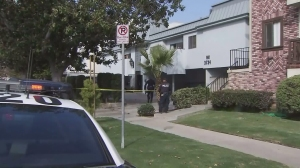 LAPD officers investigate after a robbery call led to the hospitalization of a woman in Palms on Nov. 24, 2015. (Credit: KTLA)