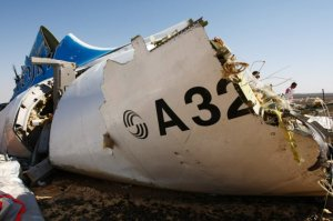 A fragment of the Metrojet A321's fuselage is seen at the crash site on Monday, Nov. 2, 2015. (Credit: Russian Emergency Situations Ministry)