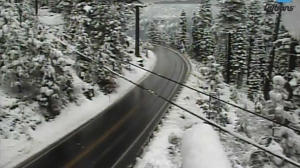 Caltrans District 3 tweeted this photo of snow through Echo Summit on Nov. 2, 2015.