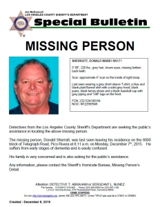 Donald Sherratt is seen in a bulletin issued by the Los Angeles County Sheriff's Department.