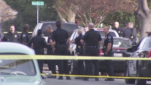 Burbank police investigate a double shooting on Dec. 9, 2015. (Credit: KTLA)