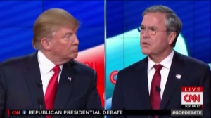 Donald Trump and Jeb Bush verbally spar at the Republican presidential debate in Las Vegas, Nevada, on Dec. 15, 2015. (Credit: CNN)