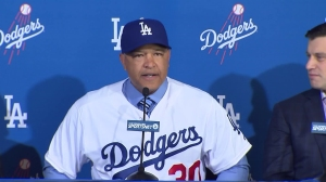 Dave Roberts was formally introduced as the manager of the Los Angeles Dodgers on Dec. 1, 2015. (Credit: KTLA)