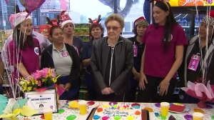 Donna Goldstein celebrated her 99th birthday with a shopping spree at a 99 Cents Only Store on Dec. 10, 2015. (Credit: KTLA)