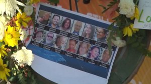 All 14 victims of a deadly mass shooting in San Bernardino on Dec. 2, 2015, are pictured at a memorial. (Credit: KTLA)