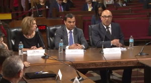 SoCal Gas Co. officials speak before the Los Angeles City Council on Dec. 1, 2015. (Credit: KTLA)