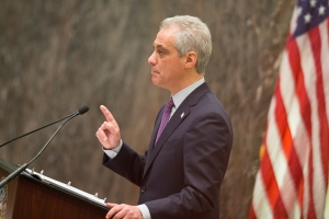 Chicago Mayor Rahm Emanuel on Dec. 9, 2015, addresses a special session of the City Council as his administration continues to come under fire amid allegations of extreme misconduct in the Chicago Police Department. (Credit: Scott Olson/Getty Images)