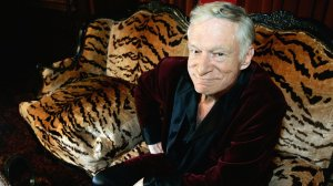 Hugh Hefner, CEO of Playboy Enterprises, poses for a photo during an interview with journalists at his mansion in Los Angeles, in 2006. (Credit: Hector Mata/AFP/Getty Images)
