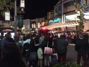 Moviegoers were evacuated from the Pacific Theatres at The Grove after a fire alarm was pulled on Dec. 17, 2015. (Credit: Michael Drake)