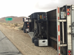 Multiple big rigs overturned Dec. 22, 2015, amid high winds in the Antelope Valley. (Credit: KTLA)
