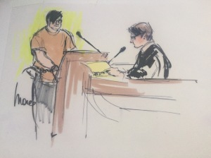Enrique Marquez is shown in a court artist's sketch during an appearance in Riverside federal court on Dec. 17, 2015. (Credit: Mona S. Edwards)