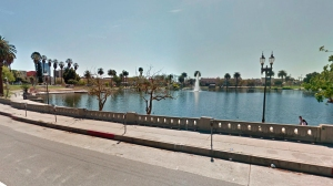 A body was discovered in MacArthur Park Lake on Dec. 14, 2015. (Credit: KTLA)