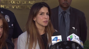 Elise Perry talks about her missing daughter on Dec. 28, 2015, at LAPD's Van Nuys Division. (Credit: KTLA)