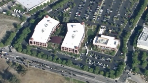 An aerial image of the Inland Regional Center is seen following a mass shooting on Dec. 2, 2015. (Credit: KTLA)