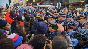 Protesters gather in the streets of Chicago on Dec. 9, 2015, after Mayor Rahm Emanuel apologized for the circumstances surrounding Laquan McDonald's death. (Credit: CNN)