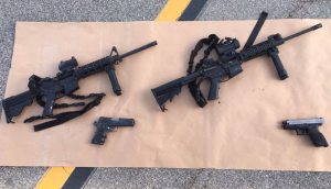 The San Bernardino County Sheriff's Department on Dec. 3, 2015, tweeted this image of two handguns and two firearms recovered from the scene of a shootout with the suspects in a mass shooting in San Bernardino.