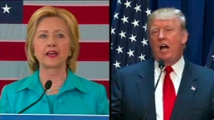 Hillary Clinton and Donald Trump are seen in this image provided by CNN.
