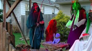 A zombie-themed nativity scene has sparked controversy in Ohio. (Credit: WKRC)
