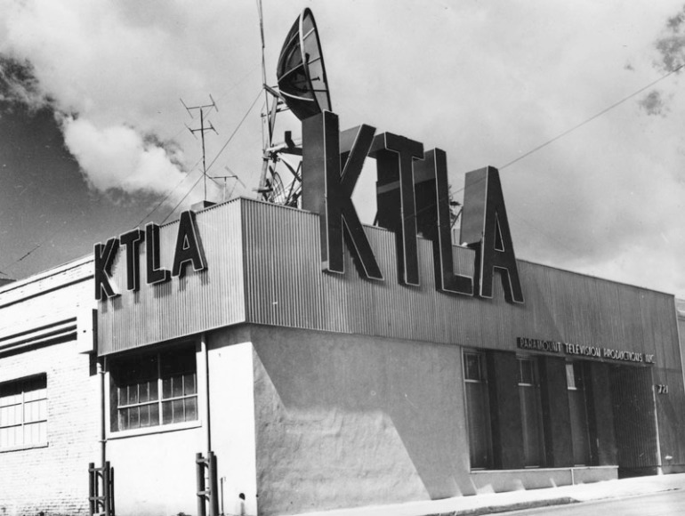 KTLA's original studio at Melrose and Bronson avenues is shown around 1950, when Paramount owned the station.
