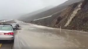 Flooding along northbound Highway 101 prompted the closure of two lanes on Jan. 31, 2016. (Credit: Ventura County Sheriff's Office of Emergency Services)