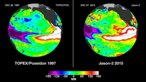 NASA released the latest satellite image comparing the current El Niño to the 1997 event on Dec. 29, 2015.
